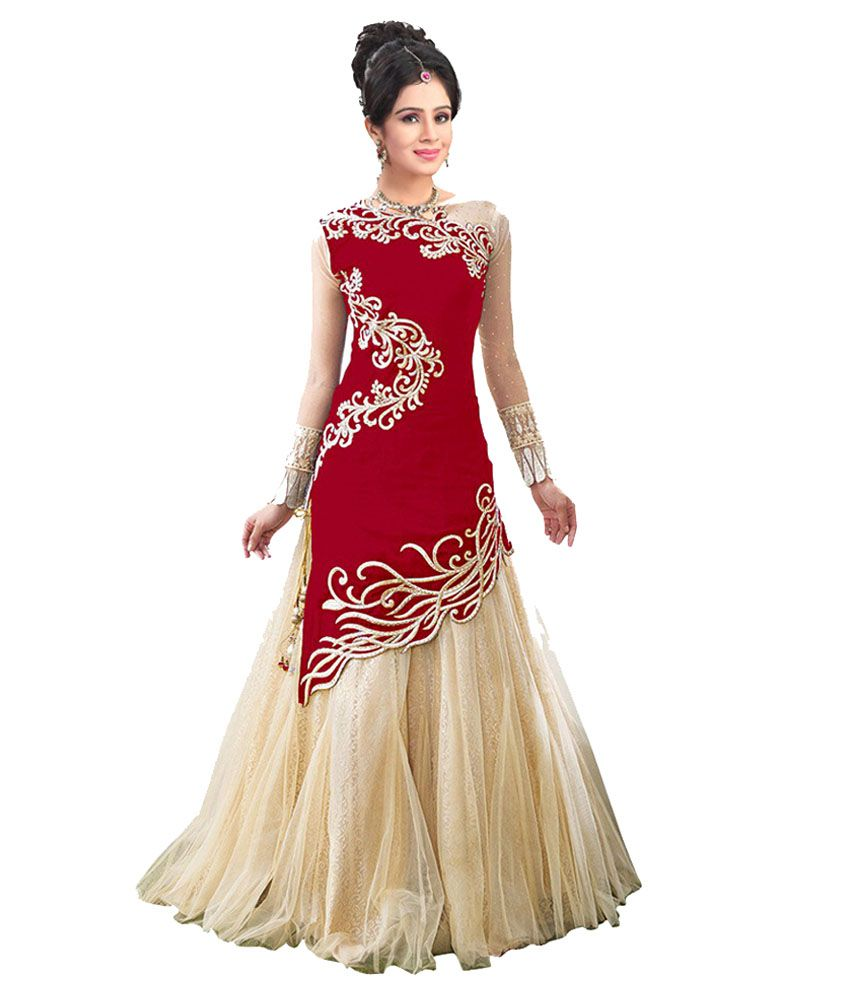 City Shop Red & Beige Net Gown - Buy City Shop Red & Beige Net Gown ...