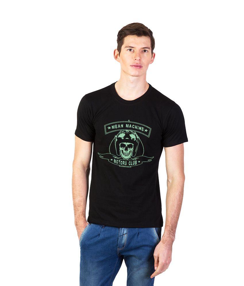Effit Black Cotton Half Sleeve Round Neck T-Shirt