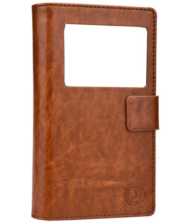 Jo Jo Leather Pouch Flip Case For Xolo Q700 Club   Dark Brown available at SnapDeal for Rs.390