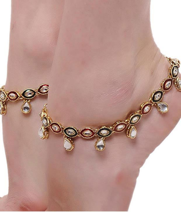 Sewad Multicolour Alloy Anklets
