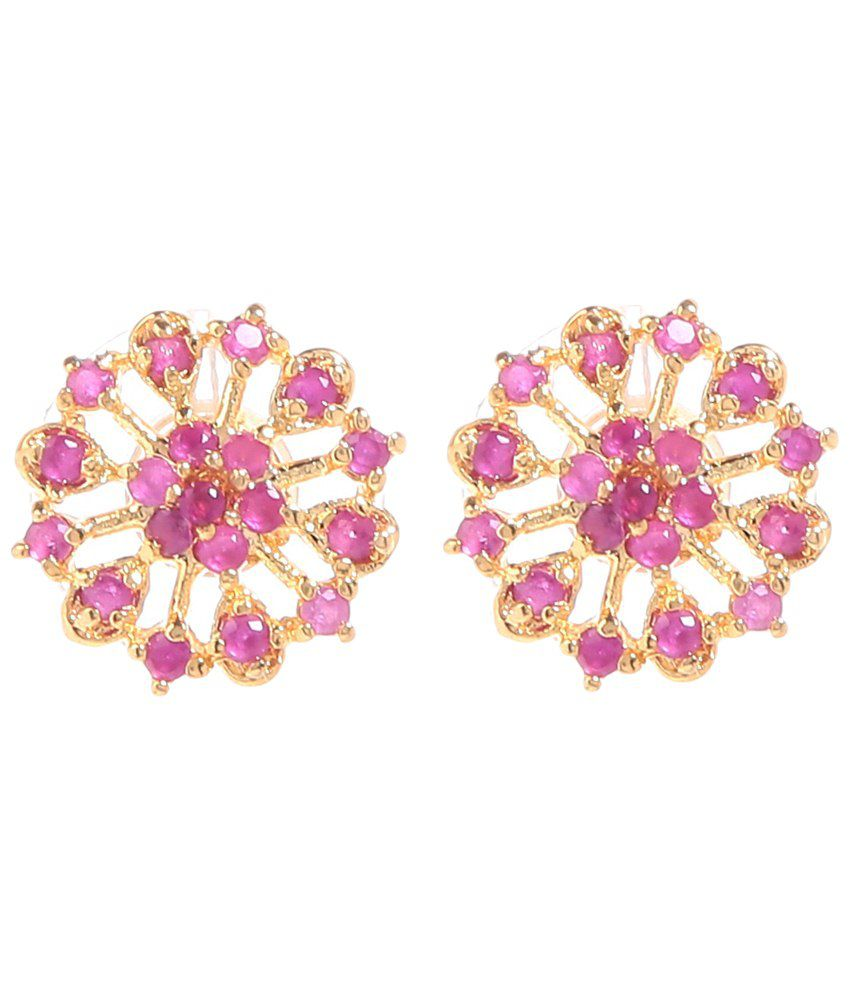 GoldNera Golden & Pink Gemstone Shalika Stud Earrings