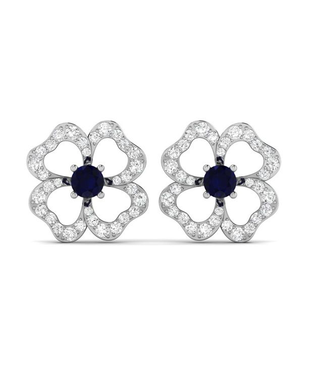 Ciemme Open Floral Shape Blue Sapphire Women CZ Gemstone Earrings 925 Sterling Silver