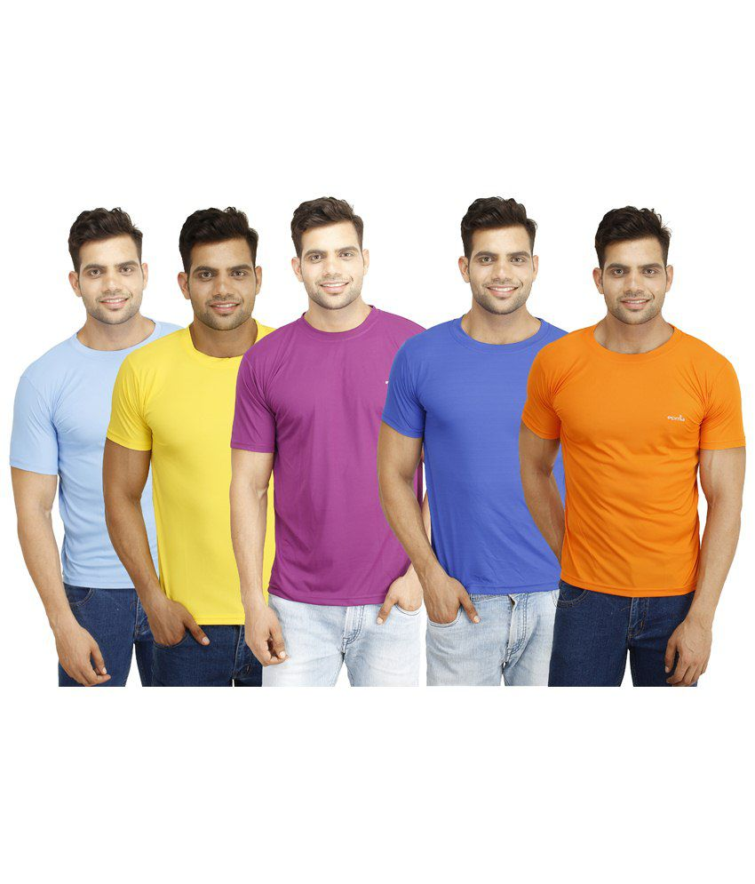 Eprilla Must Have Pack of 5 Multicoloured T Shirts for Men