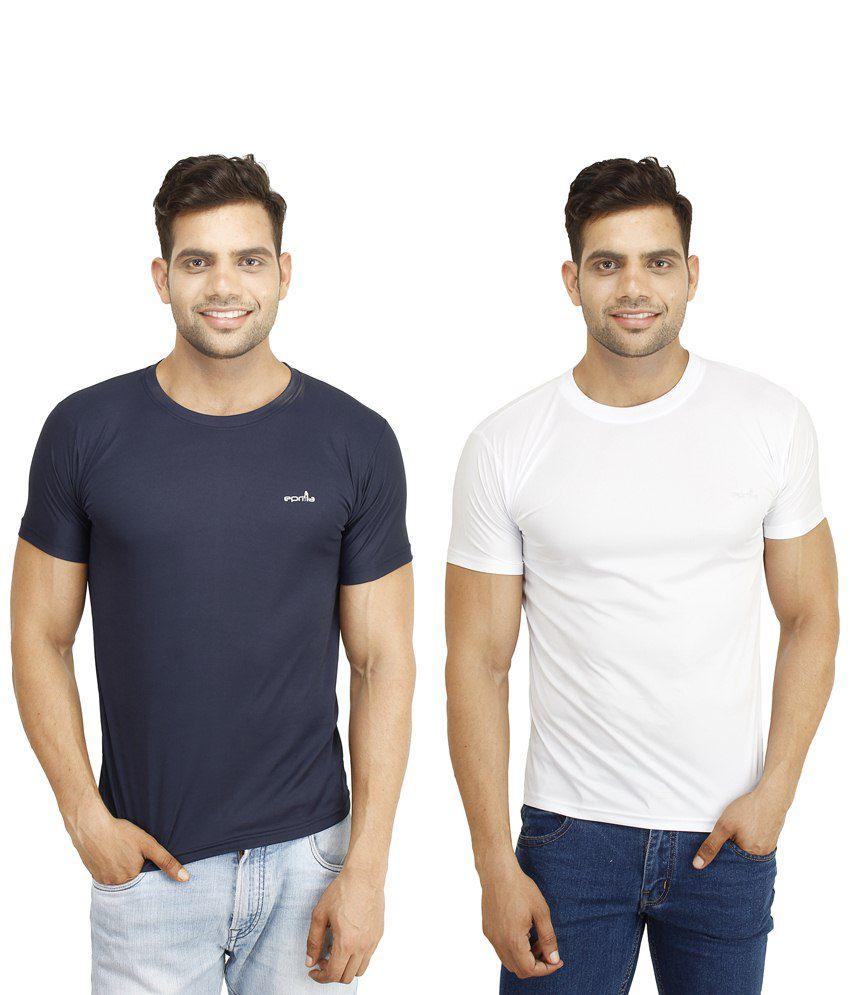 Eprilla Pack of 2 White & Blue T Shirts for Men