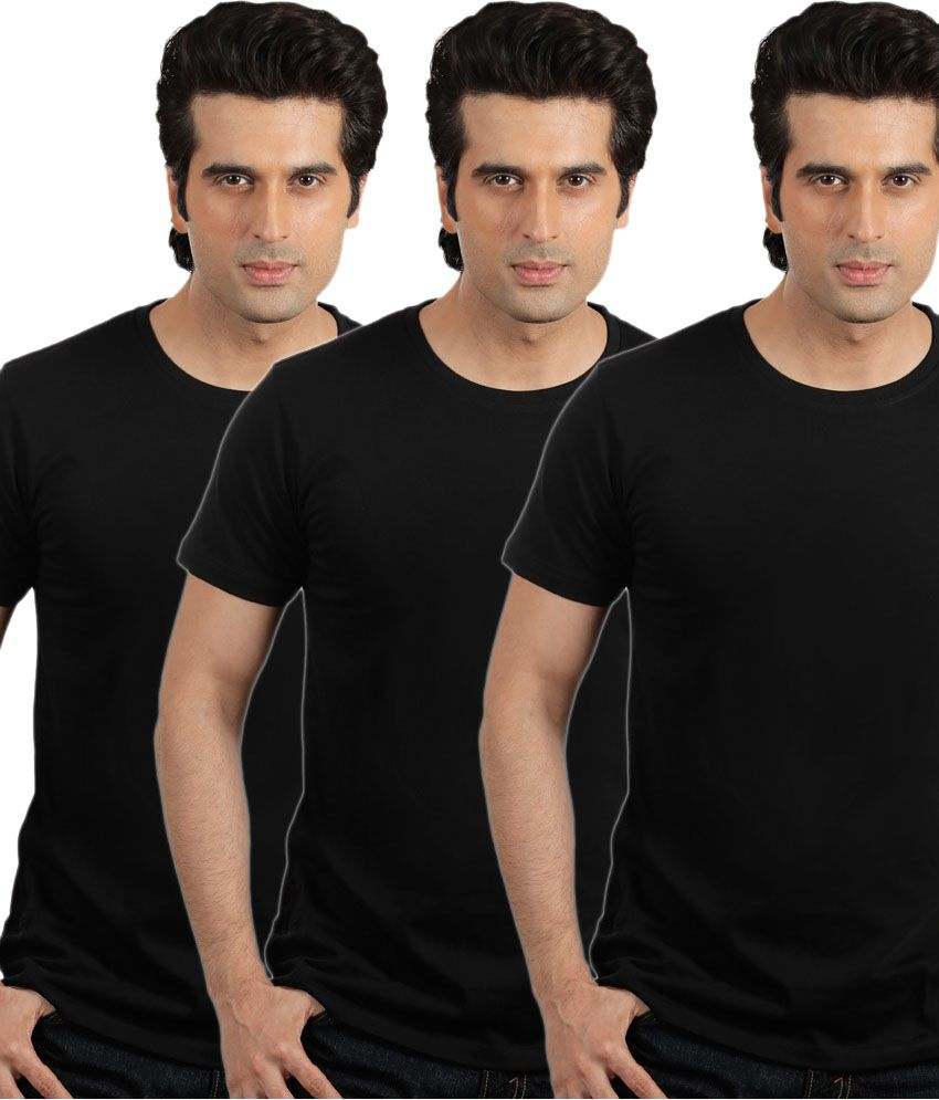 Espana Black Cotton Round Neck T-shirt - Pack Of 3