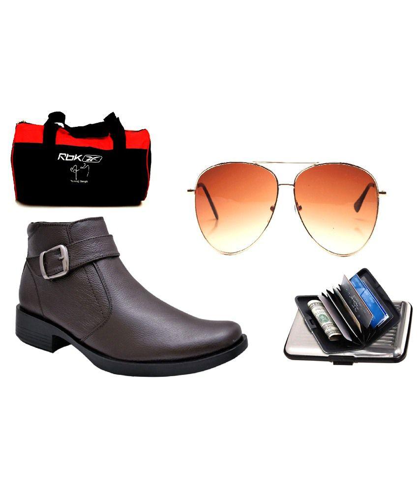Lee Hides Combo Of Brown Leather Formal Shoes, Reebok Gym Bag, Sunglass & Cardholder
