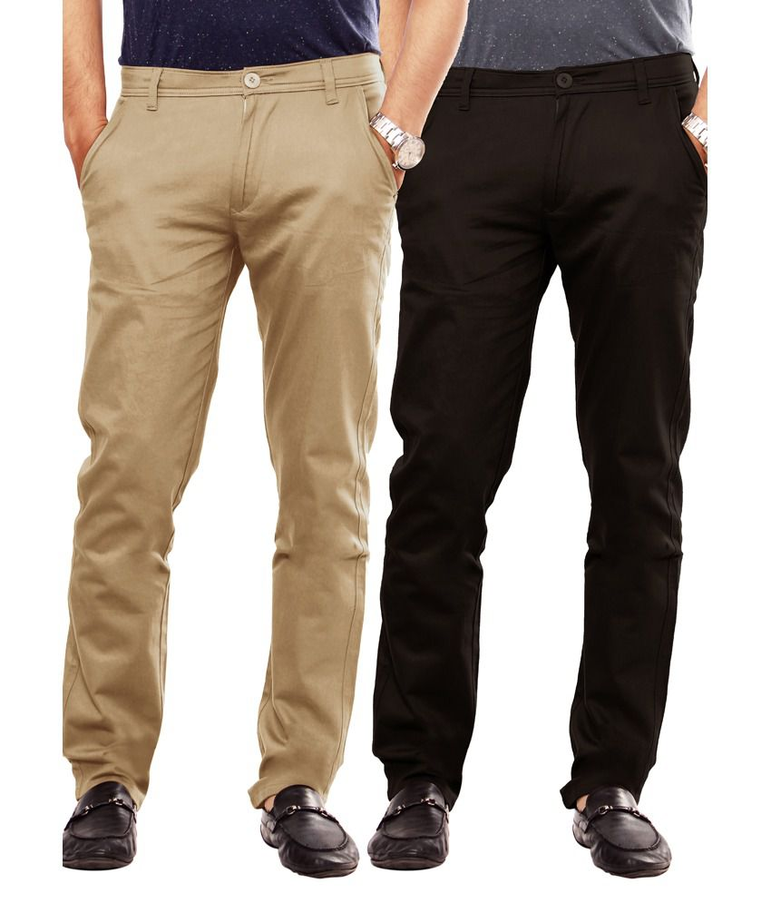 Uber Urban Multicolour Cotton Slim Chinos Pack Of 2
