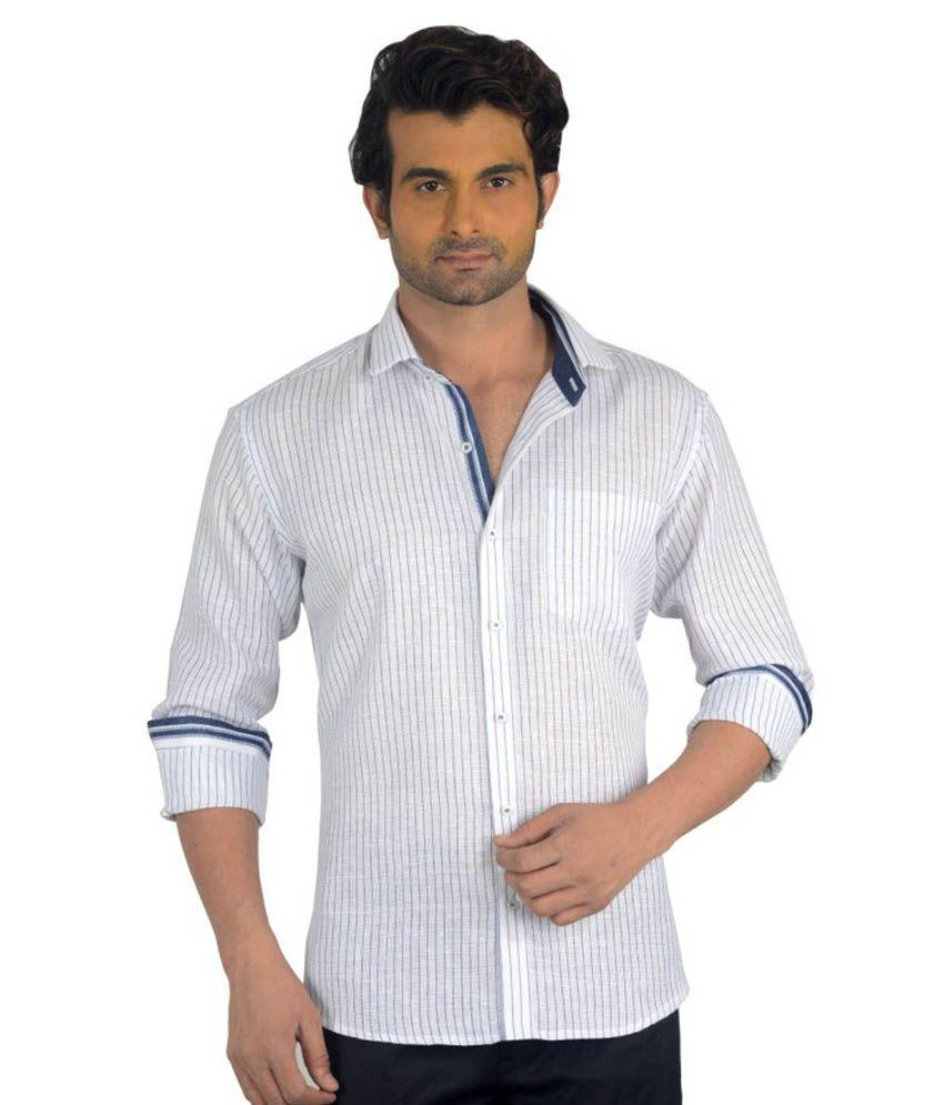 Baaamboos White Linen Blend Stripes Full Shirt For Men