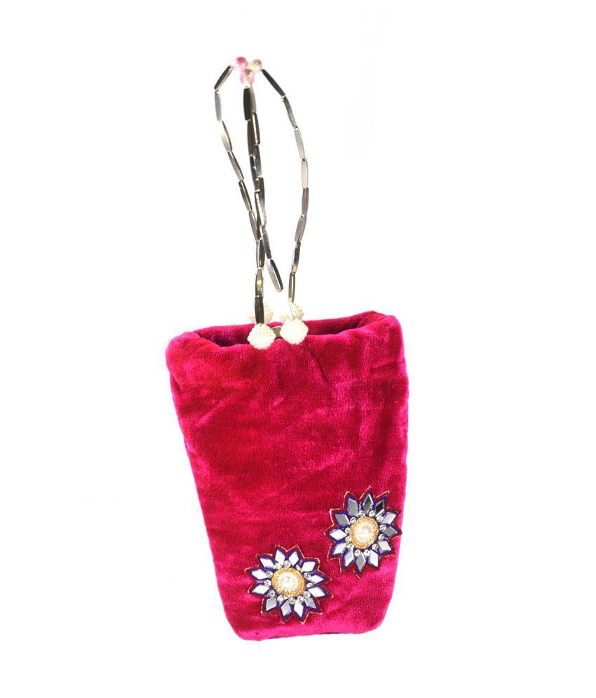 Arisha Kreation Co Pink Velvet Designer Party Wear Clutch