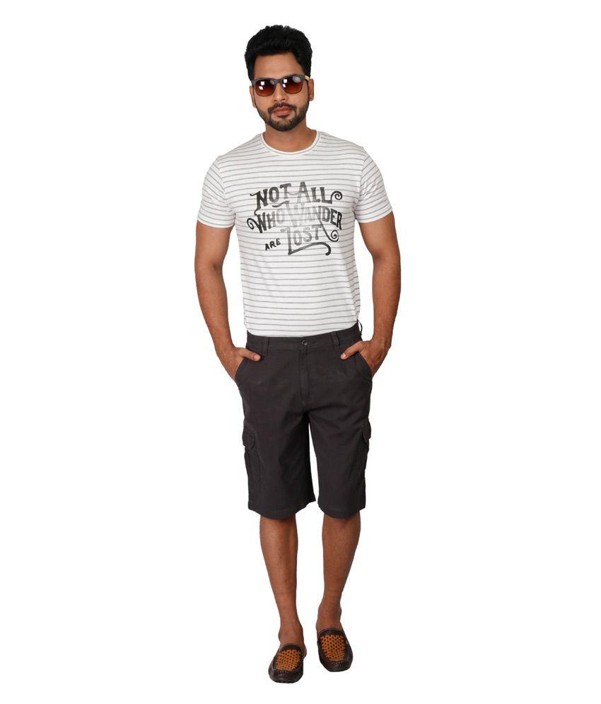 Cottny Khaki Cotton Shorts For Men