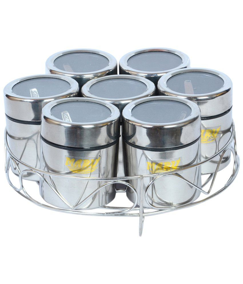 maru silver stainless steel spice container  pcs buy online at  -  maru silver stainless steel spice container  pcs