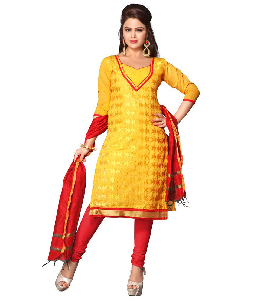 Yehii Yellow Chanderi Straight Unstitched Dress Material