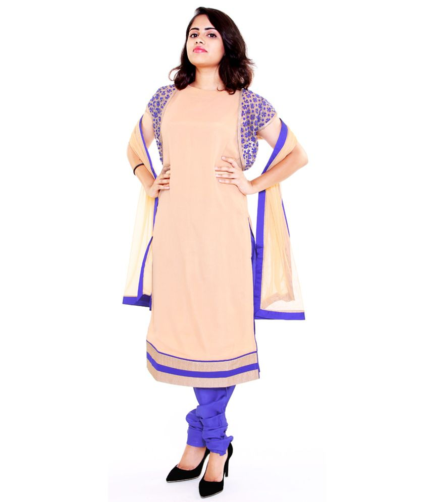 Aggana Beige Pure Georgette Stitched Suit