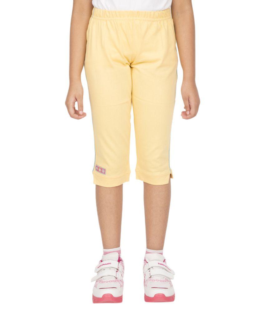 Ocean Race Yellow Cotton Solids Capri