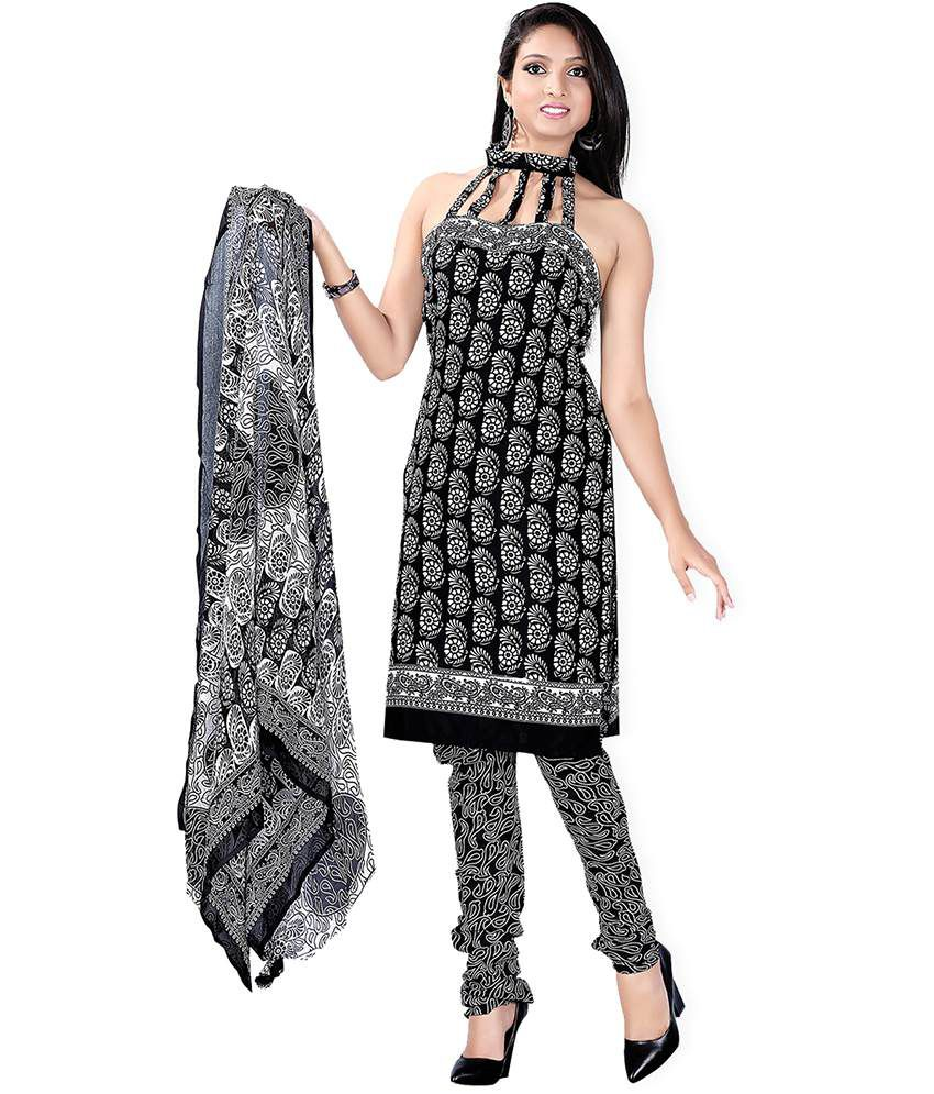 Lookslady Printed Black & White Cotton Dress Material
