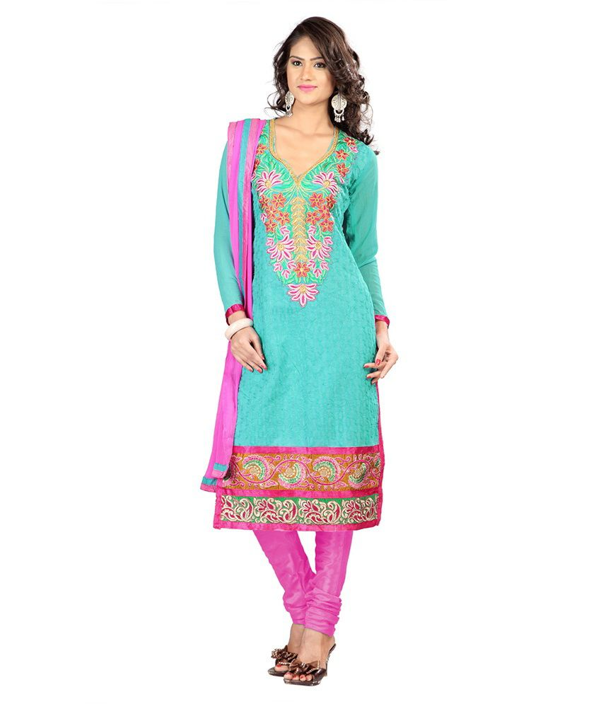 LooksLady Blue Chanderi Dress Material