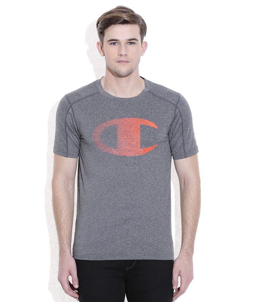 Champion Gray Round Neck T-Shirt