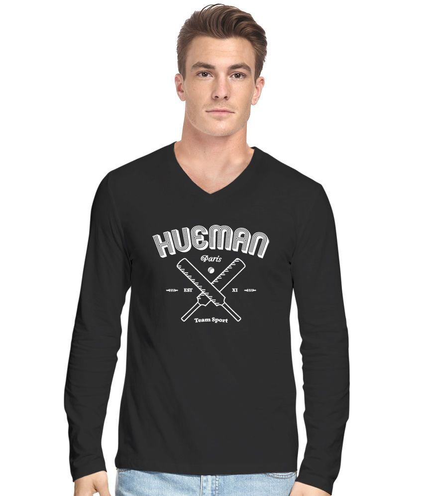 Hueman Black Cotton Blend Printed T Shirt For Men