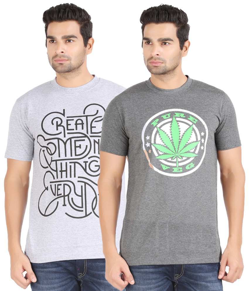 Kryo Pack of 2 Gray T Shirts for Men