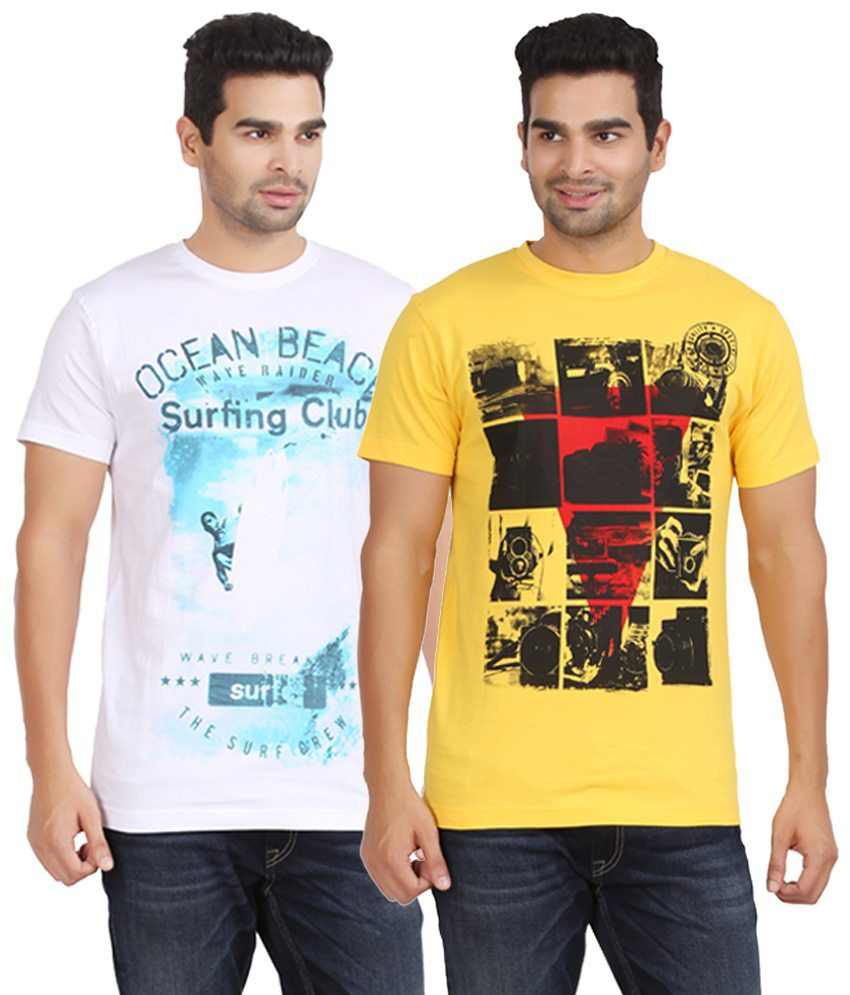 Kryo Voguish Pack of 2 Yellow & White T Shirts for Men