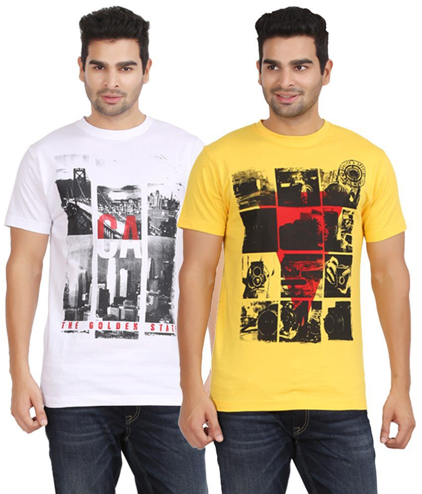 Kryo Winsome Pack of 2 Yellow & White T Shirts for Men