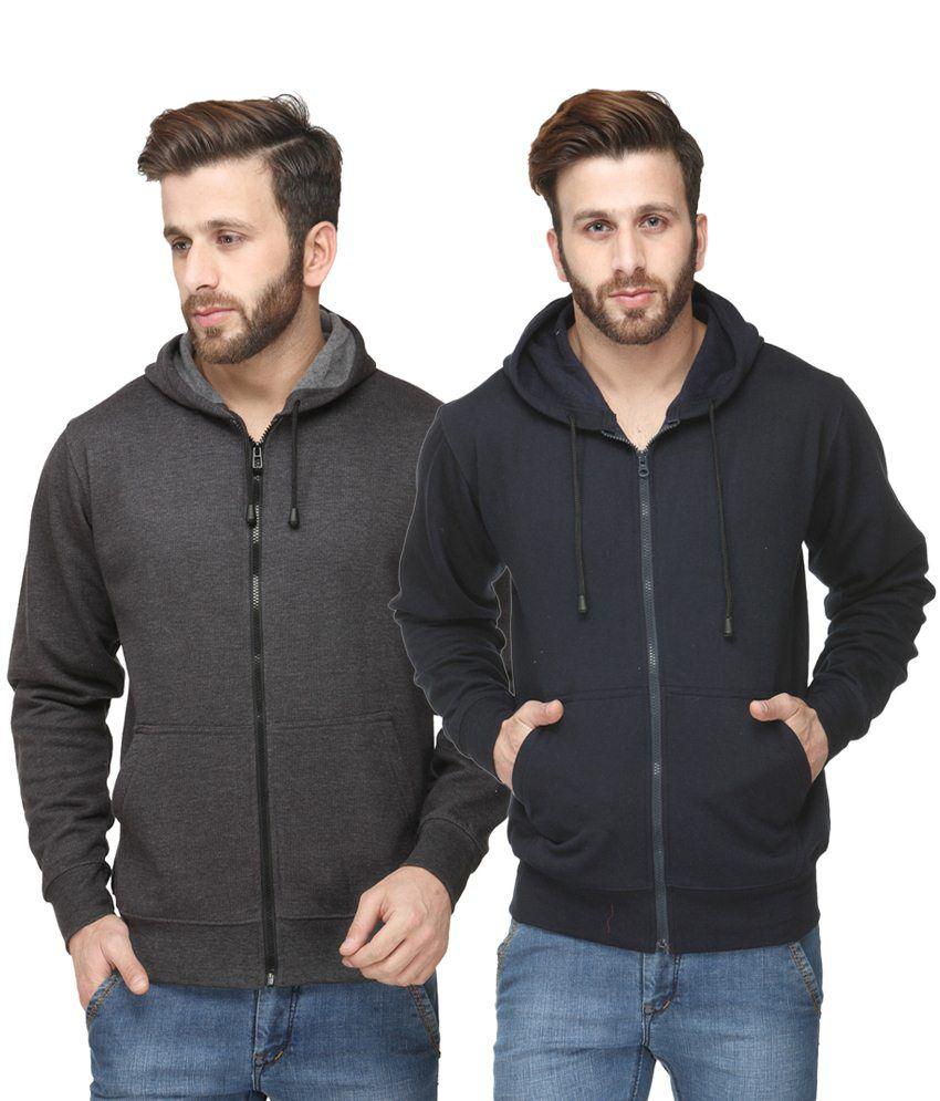 Scott International Exclusive Pack of 2 Deep Gray & Black Hooded Sweatshirts with Zip for Men