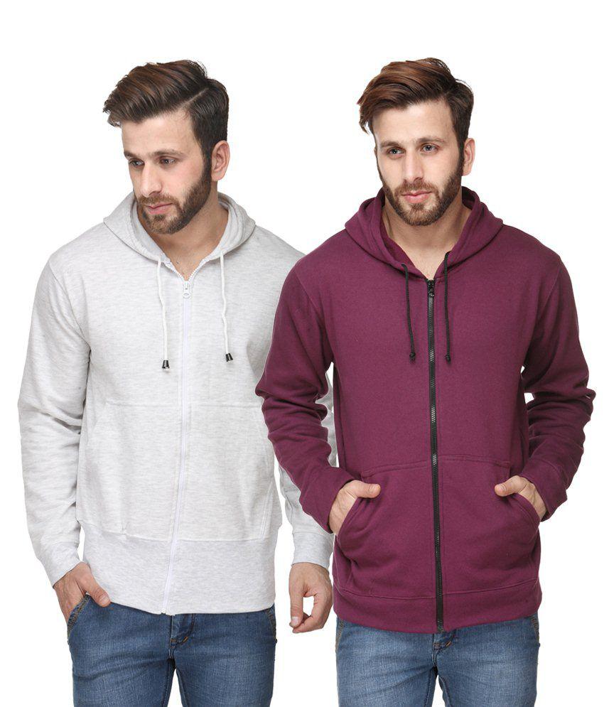 Scott International Pack of 2 White & Purple Hooded Sweatshirts with Zip for Men