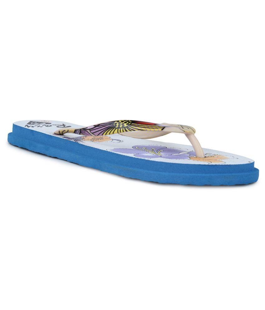 11E Blue & White PVC Flip Flops