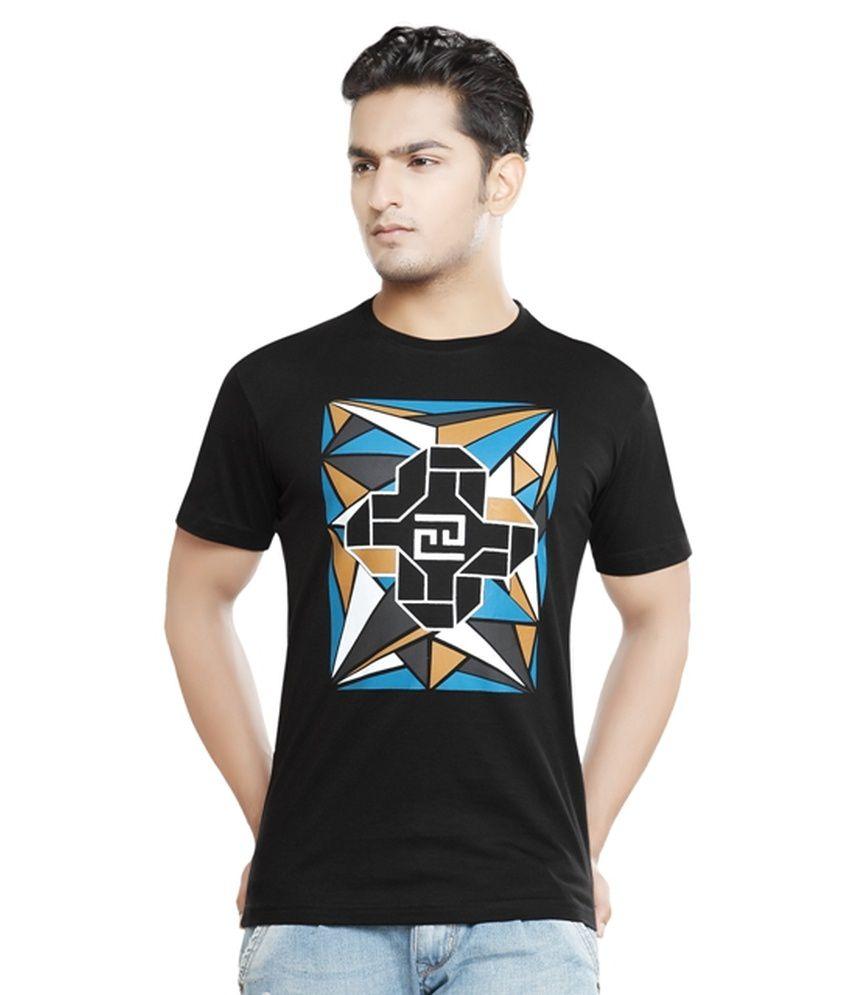Afylish Printed Black Round Neck Mens T-Shirt - Supima Cotton
