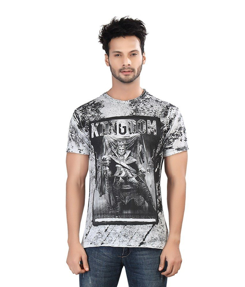 Afylish Printed White Rugged Look Round Neck Mens T Shirt