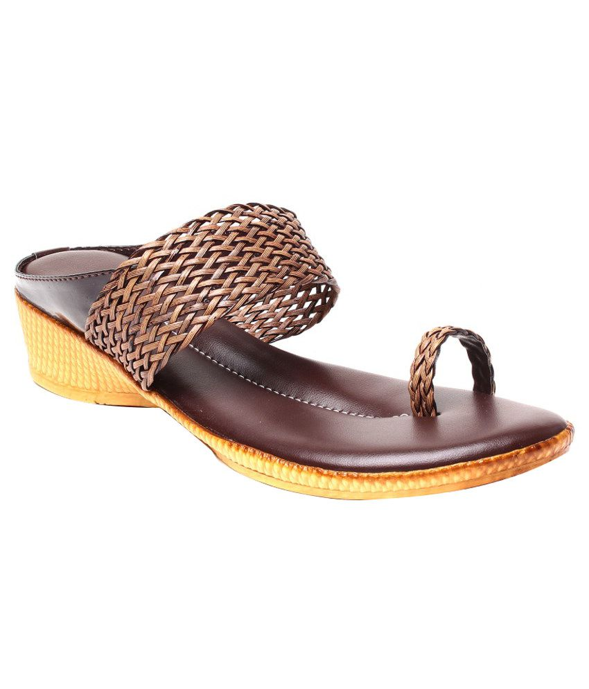 Anand Archies Sophisticated Brown Heeled Slip On
