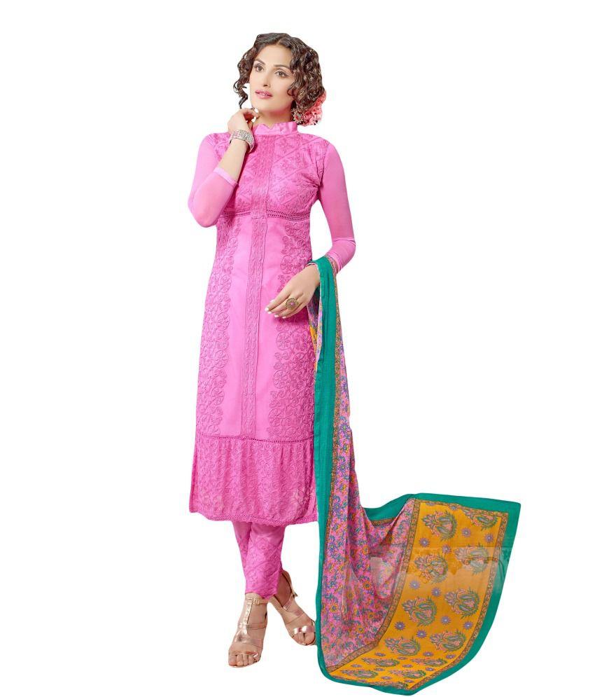 Suchi Fashion Pink Chiffon Unstitched Dress Material