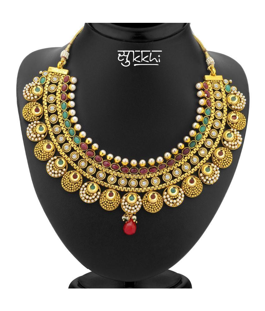 Antique Gold N Jadtar Set: Sukkhi- Kritika Kamra Jodha Akbar Gold Plated Antique