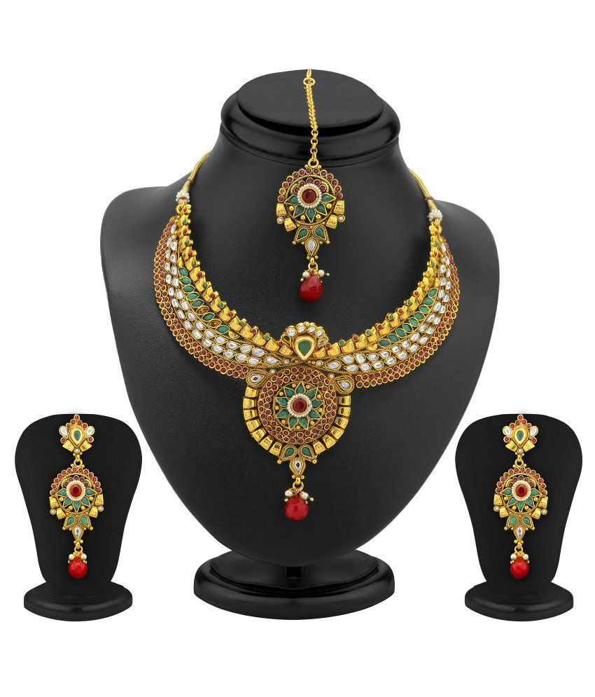 Sukkhi- Kritika Kamra Preety Gold Plated AD, Ruby and Emerald Antique Necklace Set