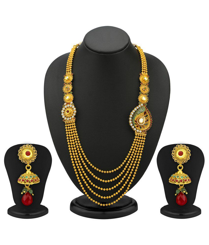 Sukkhi- Kritika Kamra One Sided 5 Strings Gold Plated Antique Necklace Set