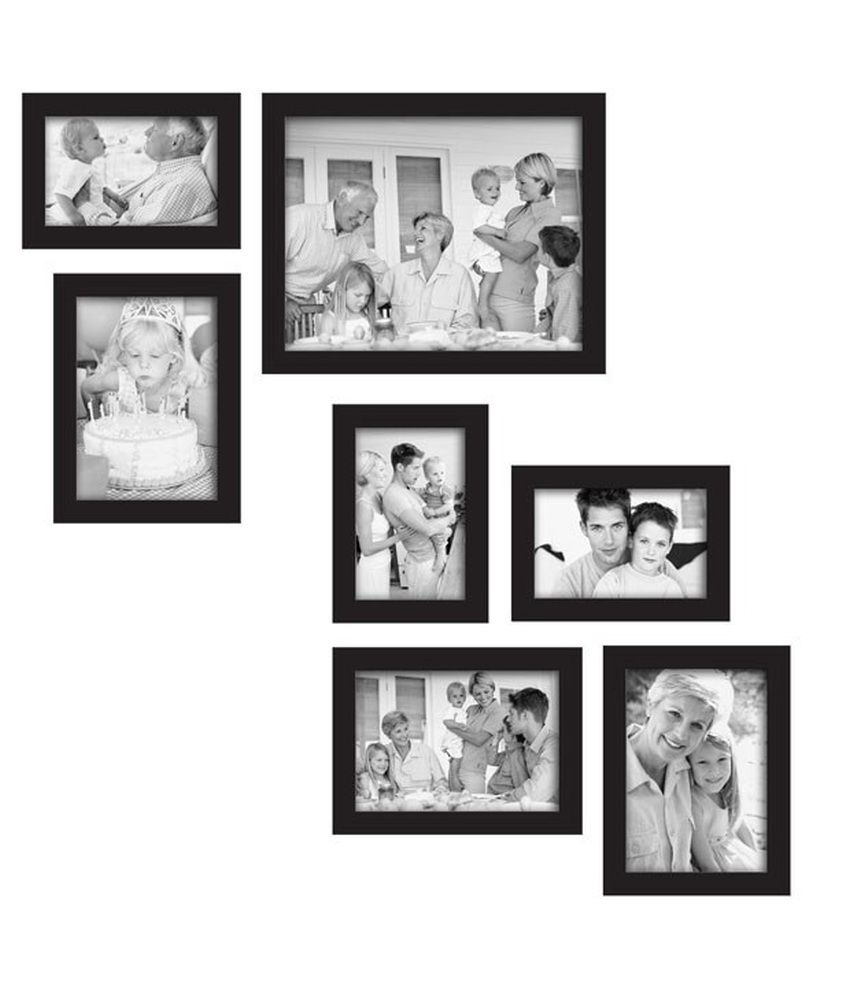 Adorable Photo Frames PVC Wall Hanging Black Photo Frame Sets