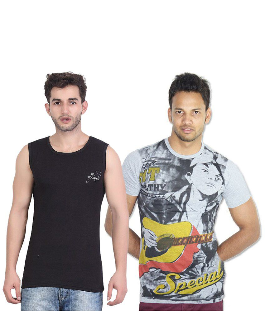 Bfly Combo Of Black & Gray Cotton Vest And T Shirt