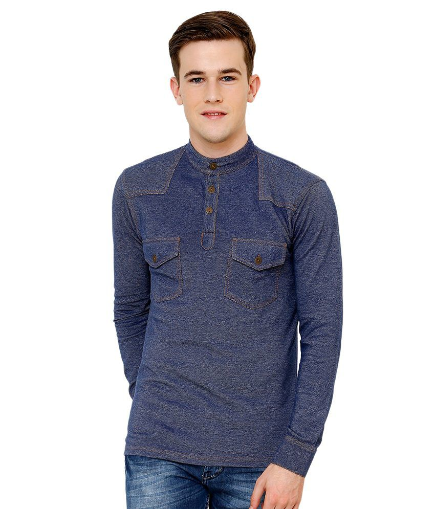 Ebry Blue Cotton Denim T-shirt