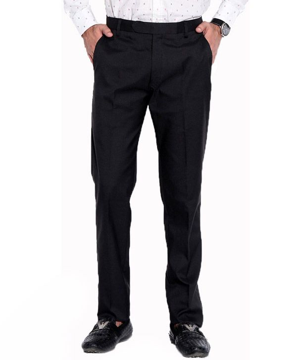Image Collection Black Cotton Regular Formal Trouser