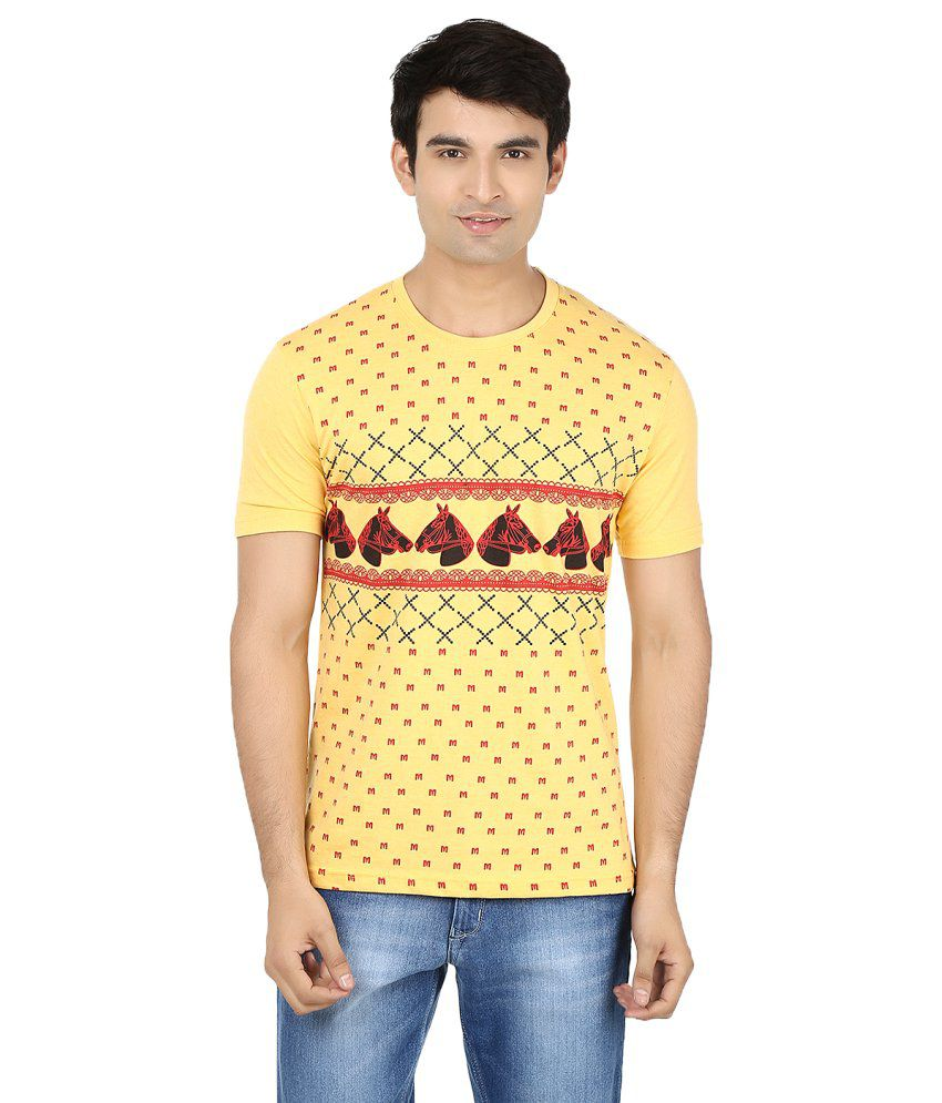Minute Merge Yellow Cotton Printed T-shirt