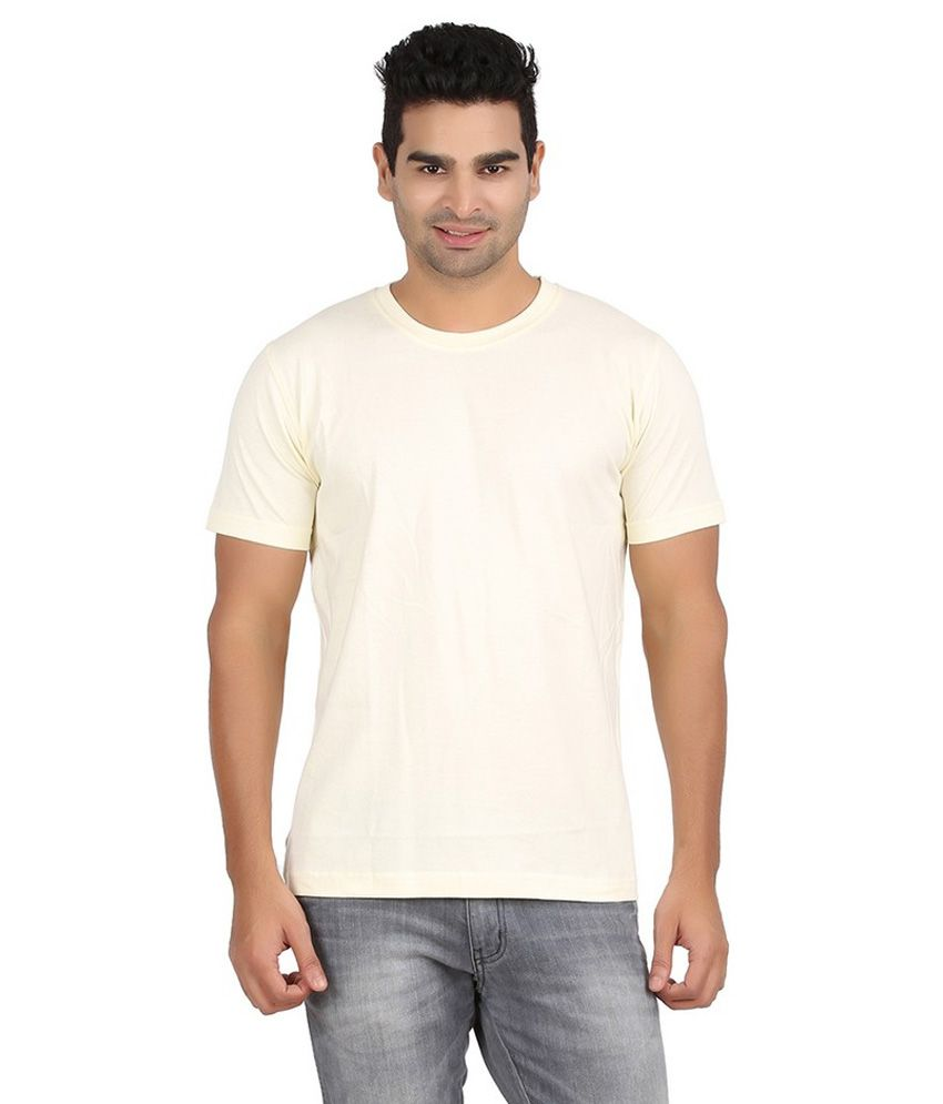 Pulse Men 100% Cotton Solid Natural Half Sleeve Rond Neck Tshirt