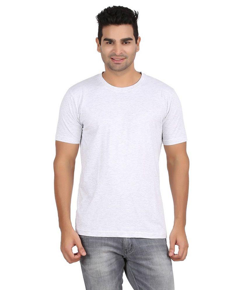 Pulse Men 100% Cotton Solid White Grey Half Sleeve Rond Neck Tshirt