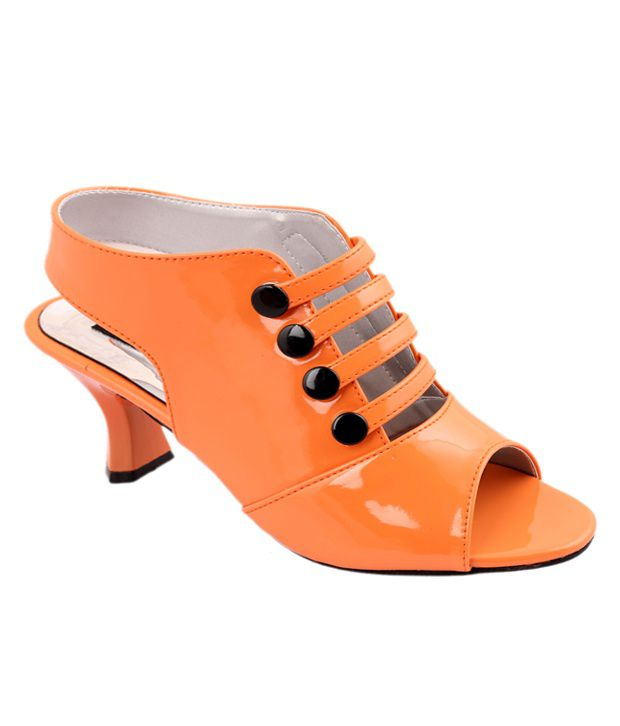Style Her Orange Faux Leather Heeled Sandals