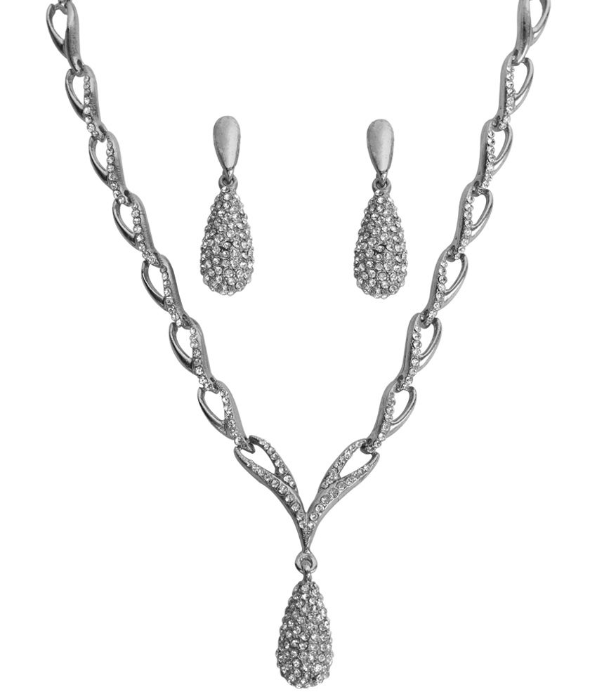 Touchstone Enticing Rhodium Plated Necklace Set