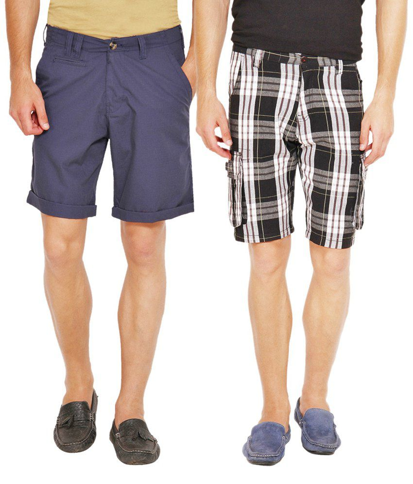 Wajbee Black and Navy Cotton Check Shorts - Pack of 2