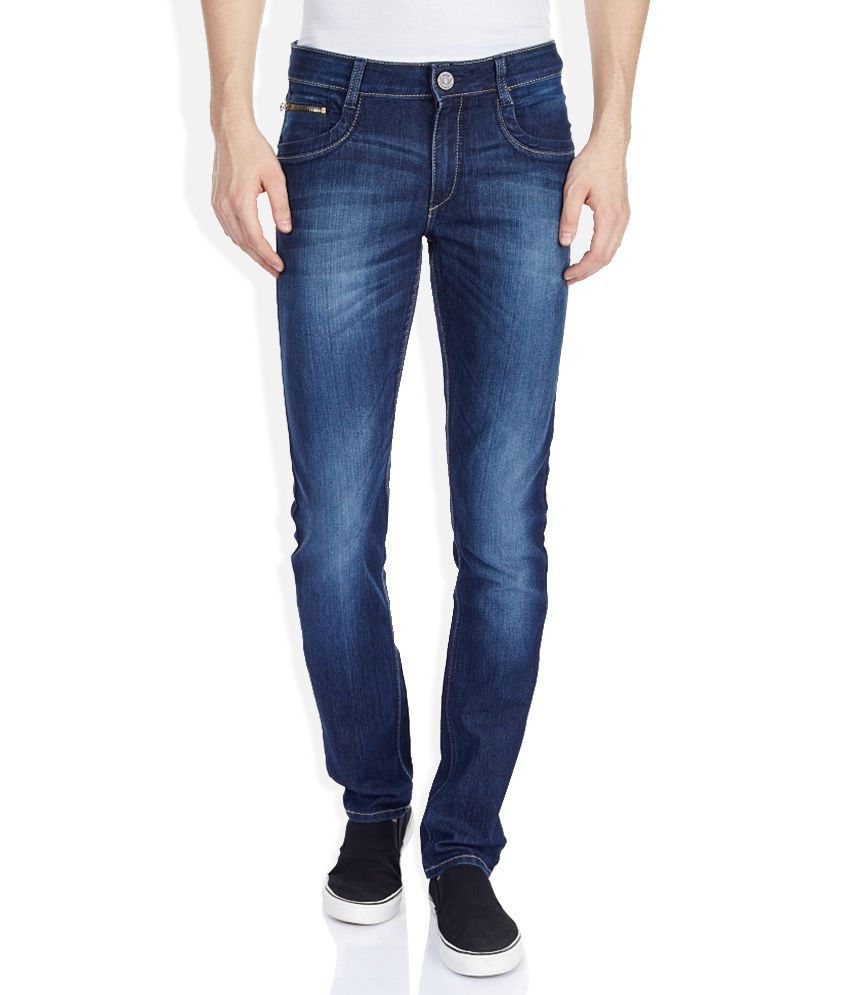 John Players Blue Skinny Fit Faded Jeans