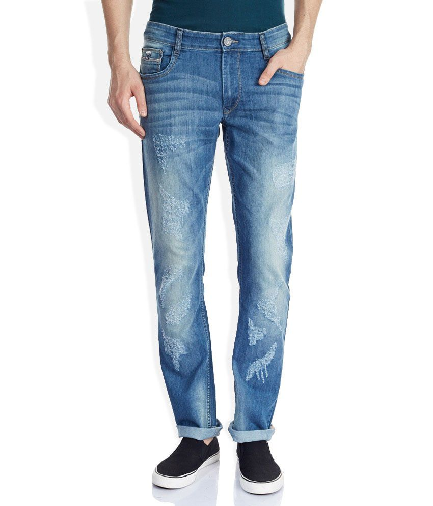 John Players Blue Super Skinny Fit Faded Jeans