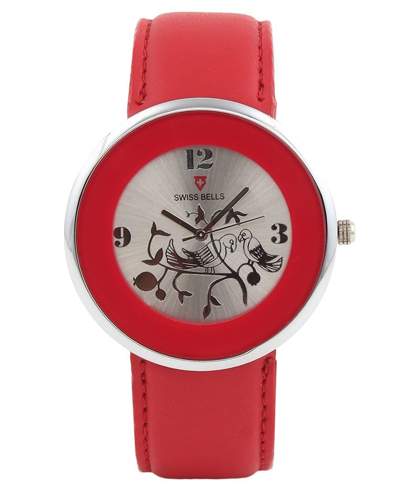 Svviss Bells Svviss Bells Red Leather Analog Watch