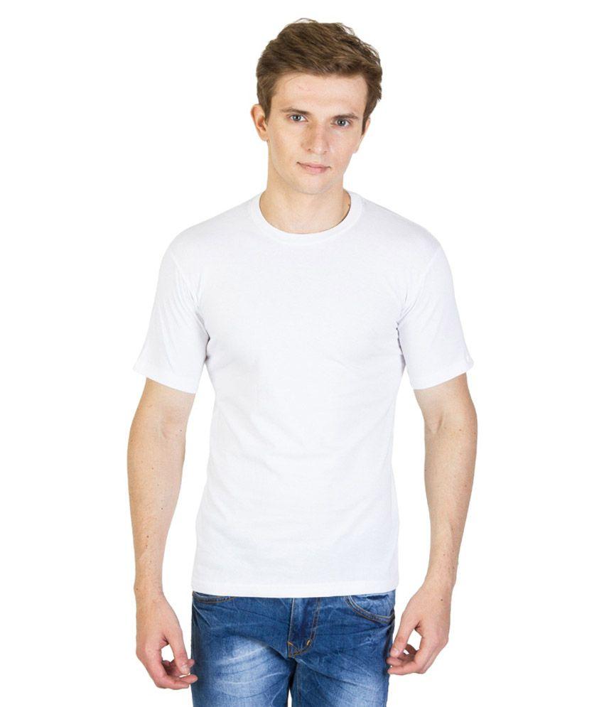 Value Shop India White Cotton Round Neck T-Shirt