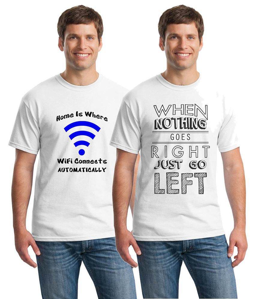 Inkvink Clothing Awesome Pack of 2 White Comic T Shirts for Men